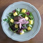 Flank Steak Salad with Garlic Polenta Croutons