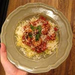 Spaghetti Squash with Pomodoro Sauce and Chicken Sausage
