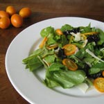 Arugula with Kumquats, Dates and Parmesan