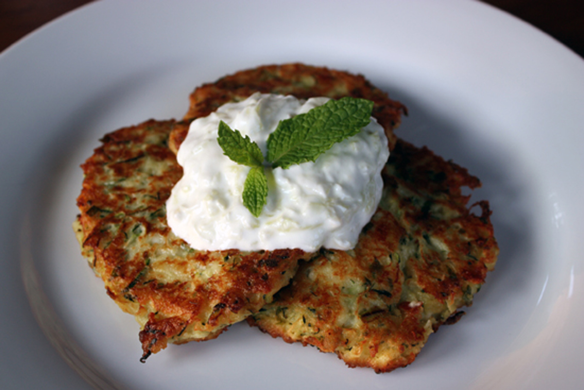 Greek Zucchini Fritters (Kolokithokeftedes) with TzatzikiWhipped