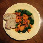 Sweet Potatoes with Kale, Caramelized Red Onion & Fresh Sage