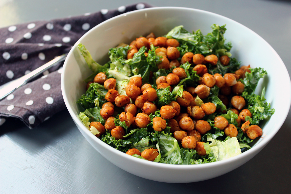 Kale Brussel Sprout Salad with Spiced Garbanzo Beans